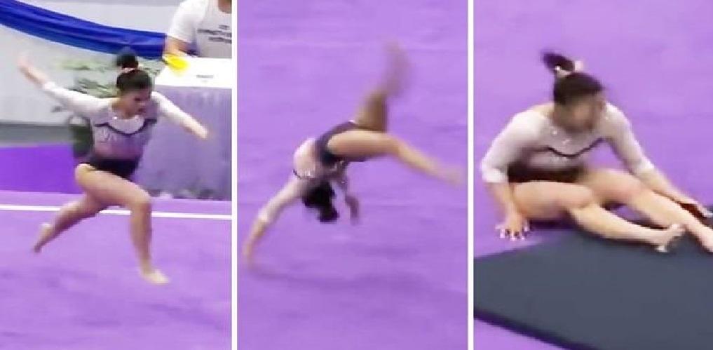 Samantha Cerio, une gymnaste vedette se casse les deux jambes en pleine routine